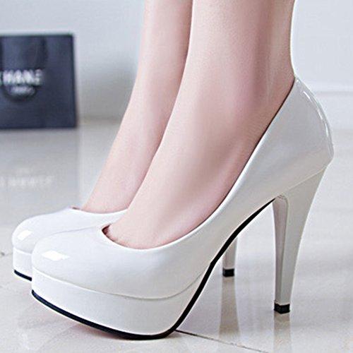 Escarpins Aisun Femme En Blanc Stiletto Plateforme Sexy Vernis rYxrqT