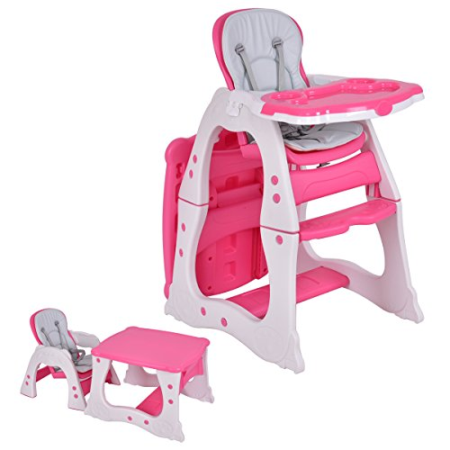 Pink High Chair - Costzon 3 in 1 Baby High Chair Desk Convertible Play Table Conversion Seat Booster (Pink)