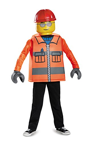 Lego Minifigure Halloween Costume (LEGO Construction Worker Classic Costume, Orange, Large (10-12))