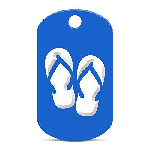 Flip Flops Keychain GI Dog Tag engraved hawaiian beach Blue Blue Flip Flop Keychain