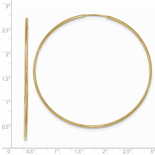 Roy Rose Jewelry 10K Yellow Gold Polished Endless Tube Hoop Earrings ~ Size: 64mm ~ 2 1/2'' Diameter by Roy Rose Jewelry (Image #2)