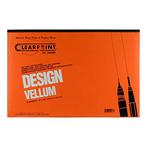 Clearprint 1000H Design Vellum Pad, 16 lb., 100% Cotton, 12 x 18 Inches, 50 Sheets, Translucent White, 1 Each (10001418)