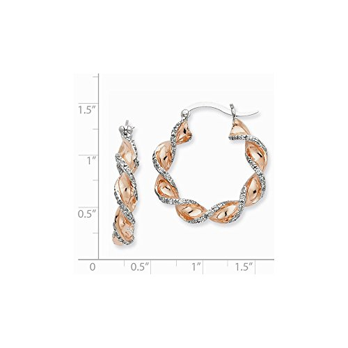 (Sterling Silver Rhodium Plated Synthetic CZ Rose Vermeil Twisted Hoop Earrings (1.9IN x 0.3IN))