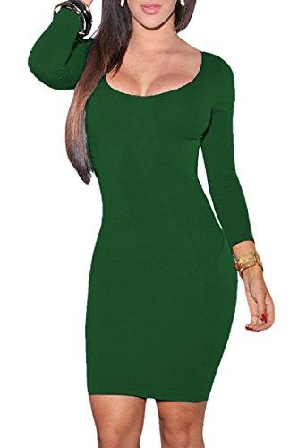 Women's Scoop Neck 3/4 Sleeve Bodycon Pencil Dress Party Mini Dress S Green (Dresses Juniors Party Christmas)