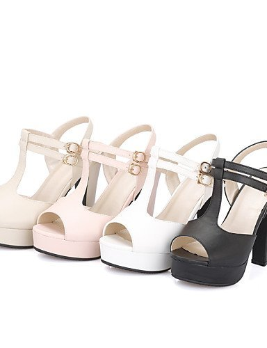 Heels Sandals Rubber Outdoor Heels White Pink Shoes Heel Platform Casual Chunky ShangYi Peep Toe Women's Pink Black qnvBTPExzw