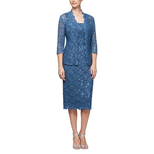 Alex Evenings Women's 10 Tea Length Dress and Jacket (Petite and Regular Sizes), Wedgewood, 10