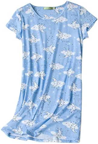 Vecardi Women's Cotton Nightgown Short Sleeves Tee Shirt Casual Sleepwear Print Sleepdress