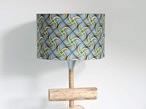 abat-jour motif wax africain Luminaire chambre bébé cylindre rond idée cadeau décoration ethnique tissu traditionnel africain anniversaire fête des mères