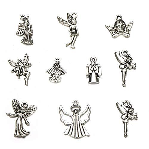 30pcs Mixed Tibetan Silver Plated Girl Angel Fairy Charms Pendants Jewelry Making DIY Charm Crafts Handmade (Angel Fairy)