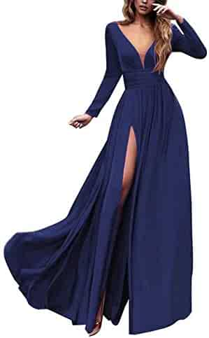 077f064810 V Neck Prom Dresses Long A Line Split Chiffon Formal Evening Gowns for Women  2019