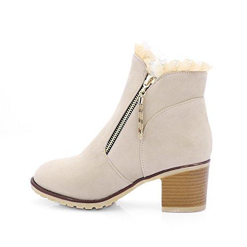 AgooLar Damen Reißverschluss Mittler Absatz Lesbie Niedrig-Spitze Stiefel Cremefarben