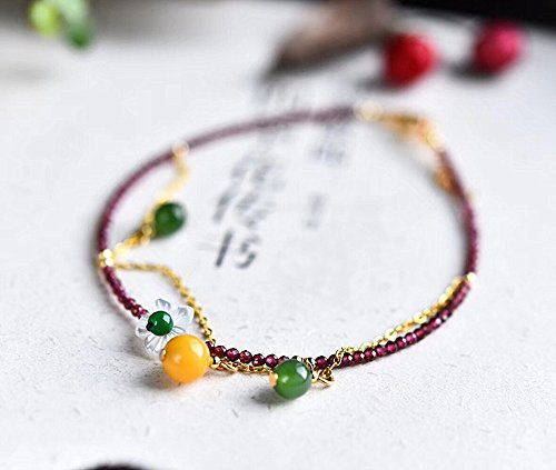 Golden Jasper Earrings - TKHNE Natural garnet Foot Chain anklet 925 wallets with natural beeswax Jasper gold chain facet garnet Foot Chain anklet