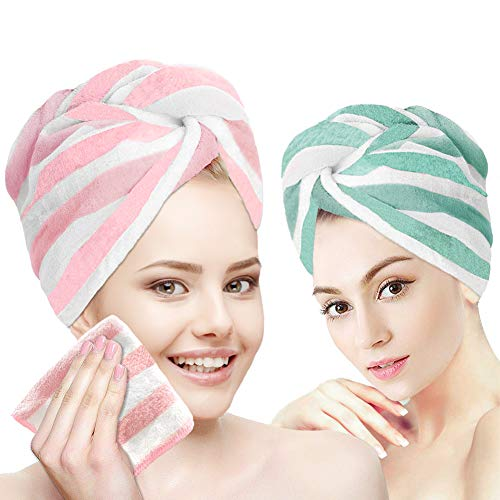 Hair Towel Wrap Turban Microfiber,3 Packs Hair Drying Towels with Face Towel,Quick Dry Towel Hair Turbans,Hair Care Anti…