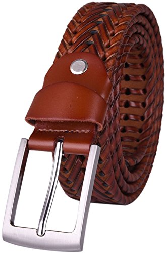 30 Hand Braided Belt - Glee&Cluster Genuine Leather Hand-woven Laced Braided Men Belt with Metal Single Prong Buckle Brown Black