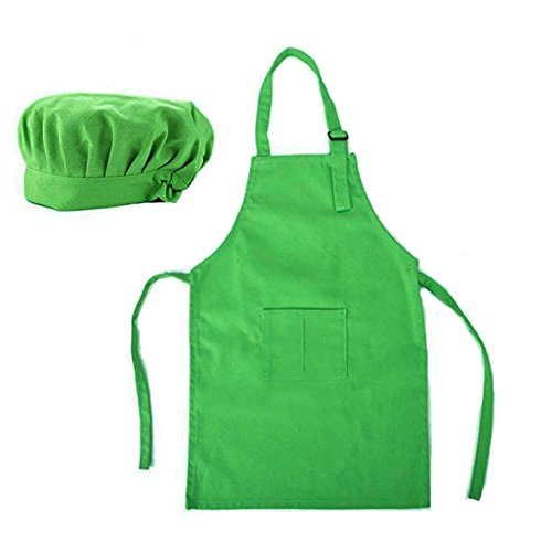 NormCorer Adorable Kids Chef Hat and Apron - Children Kitchen Set - Toddler Dress Up Career Role Play for Cooking | Baking | Painting -1Pcs (green, m) -