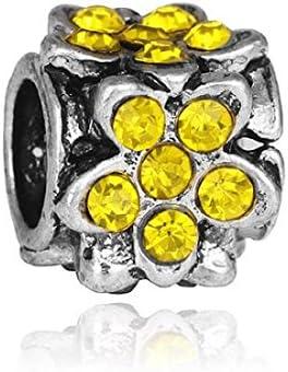 Charms Perles Bracelets compatibles Toutes Marques id/ée Cadeau Soldes dhiver Charm Fleur Jaune