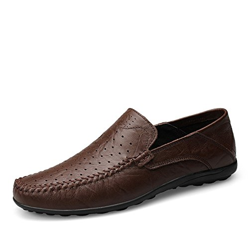 Mocassini Slip Vamp Color EU Morbidi da alla Dimensione On di Driving Brown Slipper Design Dark Loafer 37 Hollow Uomo Casual Moda 8rxTq8R