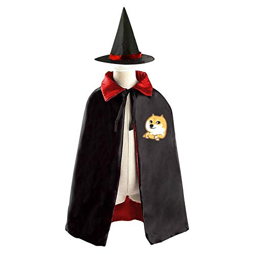 69PF-1 Halloween Cape Matching Witch Hat Cute Corgi Dog Wizard Cloak Masquerade Cosplay Custume Robe Kids/Boy/Girl Gift Red