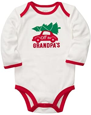 Baby Long-sleeve Christmas Bodysuit (3 Months, White/Grandpa)