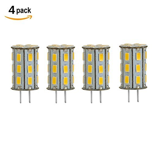 GY6.35 LED Bulb 5 Watt 12V AC DC Warm White 3000K G6.35/GY6.35 Bi-Pin Base 35W Halogen Bulbs Equivalent (Pack of 4)