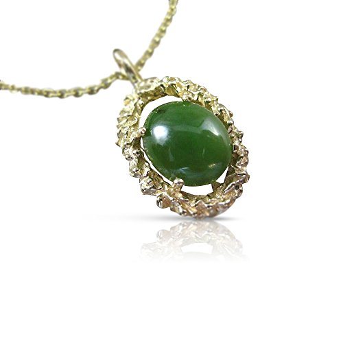 Milano Jewelers LARGE 14KT YELLOW GOLD SOLITAIRE AAA OVAL JADE FILIGREE PENDANT #22662 (Yellow Jade 14kt Pendant)