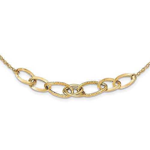 (14K Yellow Gold Polished and Textured Fancy Link)
