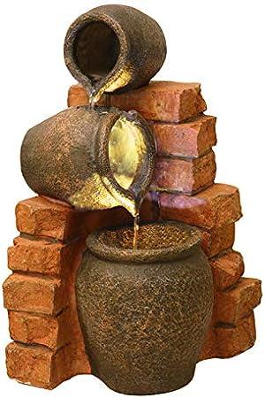 Ambienté Fuente de Agua con Tinajas de Aceite y Luces: Amazon.es: Jardín