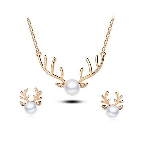 T-PERFECT LIFE 18K Gold-plated Pearl Charm Christmas Reindeer Pemdant Neckalce Earrings 2 Set (gold) ()