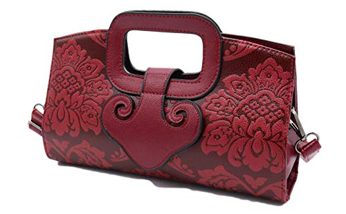 allx Designer Unique Embossed Flower Leather Ladies Top Handle Bag Handbag (Red)