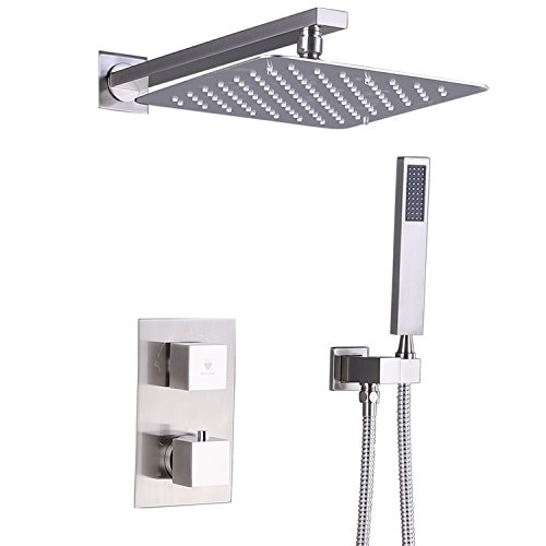 HIMARK Luxury Rain Shower Systems Wall Mounted Shower Combo Set with High Pressure 10 Inch Square Rain Shower Head and Handheld thermostatic Shower Faucet Set Brushed Nickel