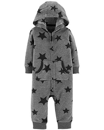 Carter's Baby Boys' One Piece Fleece Jumpsuit Grey Star, 18 Months