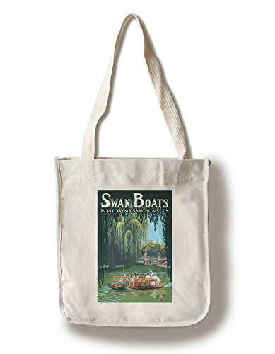 Swan Boats - Boston, MA (100% Cotton Tote Bag - Reusable, Gussets, Made in (Boston Swan Boats)