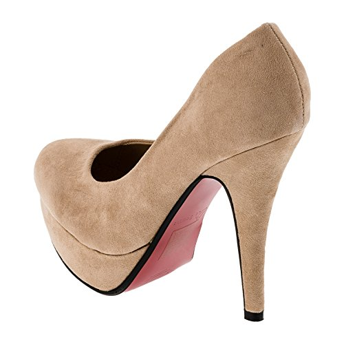 Le Scarpe Damen Pumps High Heels Plateau Stiletto Party Schuhe in Vielen Farben M301be Beige Gr.41