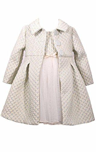 Bonnie Jean 2 Pc Christmas Dress Coat Set Ice Blue Ivory Gold, Size 5