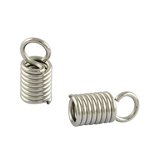 (NBEADS 500pcs 304 Stainless Steel Cord Ends Leather End Caps Cord Coil Terminators Cord Ends(8x3mm, hole: 2mm))