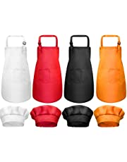8 Pieces Kids Chef Hat Apron Set, Boys Girls Aprons for Kids Adjustable Cotton Aprons Kitchen Bib Aprons with 2 Pockets for Kitchen Cooking Baking Wear