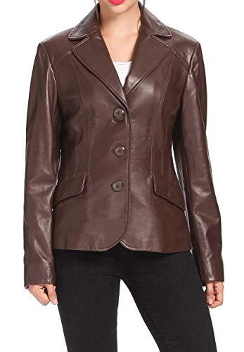 - RedSeam Women's Genuine Lambskin Leather Blazer Slim Fit Jacket Three Button Coat RW128 (XX-Large) Brown