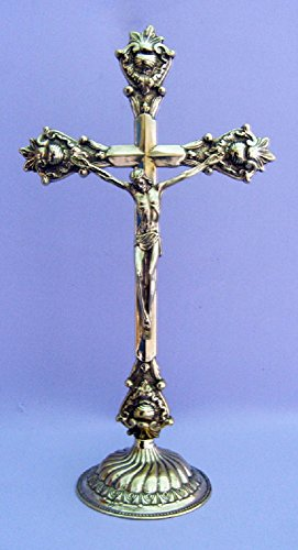 A standing Crucifix in shiny brass, 14.5inches . Made in Italy. by GSV001