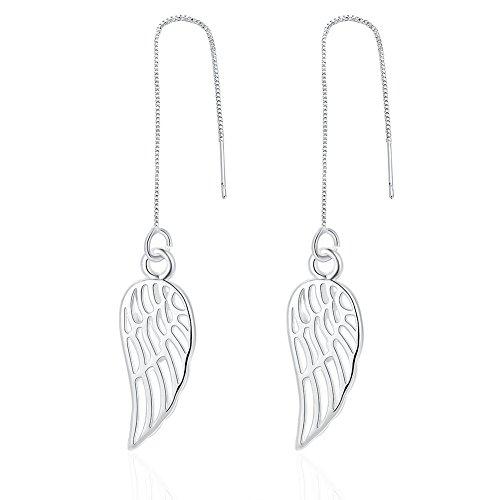 Series Wing - DazzlingShine High Polished 925 Sterling Silver Threader Drop Earrings Series (angel wings)