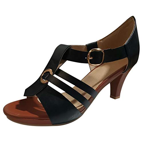 ♡QueenBB♡ Women's Ladies Elegant High Heels Dress Sandals Clog Sandals Open Toe Buckle Strap Roman Shoes
