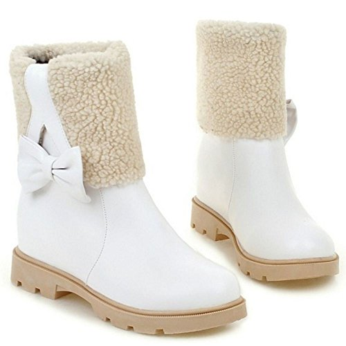 COOLCEPT Women Boots Pull On Hidden Heel White-1 9nU6TzDU