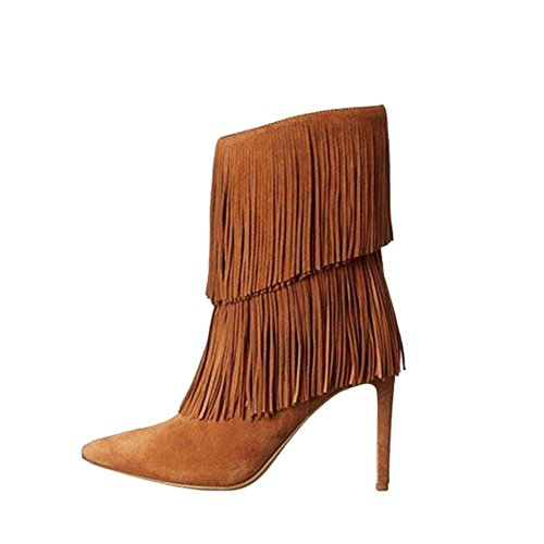 sottile BROWN donna in 41 scamosciata Moda caviglia scarpe alti nappa 39 tacchi pelle a punta BROWN stivali breve 0xHHt6