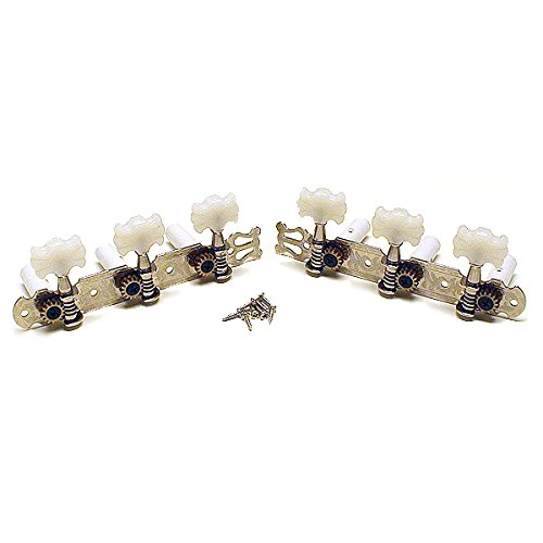 Genuine Fender Chrome 3x3 on a Plate Tuners w/WHT Buttons for Classical Guitar (Fender Genuine)