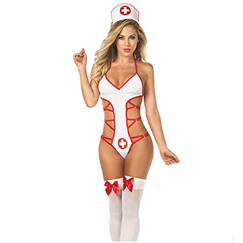 Sexy Nurse Uniform (DGAGA Nurse White Halloween Cosplay Costume Lingerie Strappy Uniform Temptation Sexy Lingerie Suit Role-playing Game, Free size)