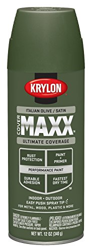Krylon K09167000 COVERMAXX Spray Paint, Satin Italian Olive, 12 Ounce
