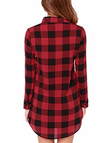 ZANZEA - Camisas - Manga Larga - para mujer Rojo Negro