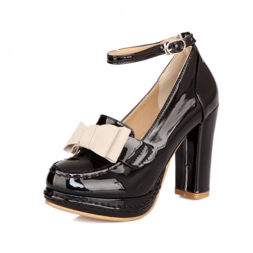 VogueZone009 Womens Closed Round Toe High Heel Platform Patent Leather PU Solid Pumps with Bowknot Black ldyzqLl