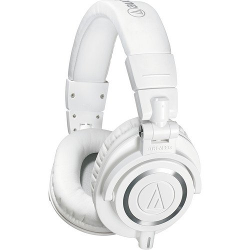 Audio-Technica ATH-M50x Professional Studio Monitor Headphones, White (Certified Refurbished) by Audio-Technica