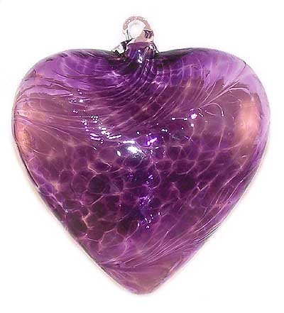 Hand Blown Glass Heart Ornament (Purple)