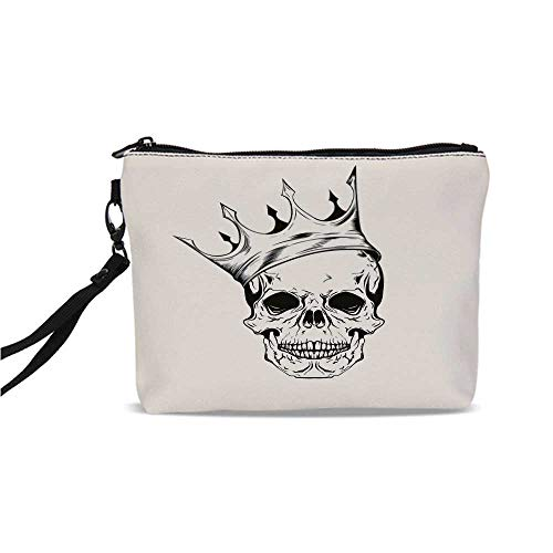 Skull Simple Cosmetic Bag,Mod Illustration of a Dead Skull King with His Crown in Vintage Style Power Art for Women,9